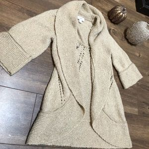 LOFT Open front Shawl Collar Cardigan Chunky Knit